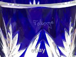 Signed Faberge IMPERIAL CZAR Blue cut to Clear Crystal Vase
