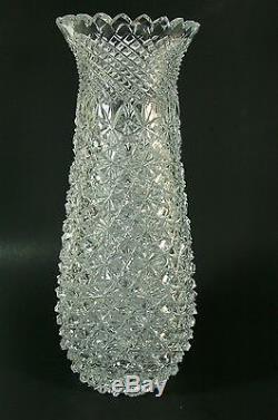 Signed Hand Cut Crystal Vase Turkish Glass Sawtooth Rim