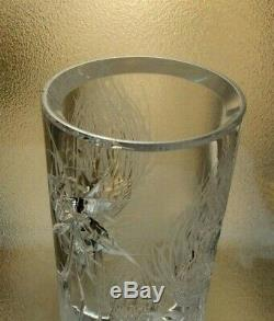 Signed JOSEF SVARC 35 cm Large Cut Crystal Flowering Thistle Vase CZECH BOHEMIAN