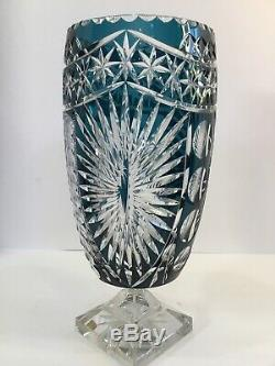 Signed Lausiter Bleikristall Cut Lead Crystal Vase (teal To Clear) Gdr Germany