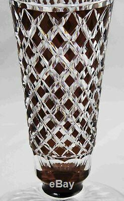 Signed Val St Lambert Amethyst Cut to Clear Crystal Trumpet Vase 9