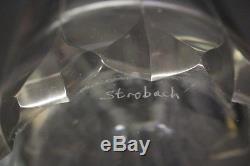 Signed Vintage KURT STROBACH Hand Cut Lead Crystal 11 Cylinder Flower Vase
