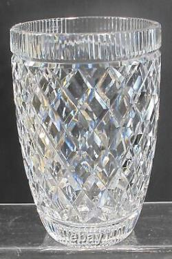 Signed Waterford Hand Cut glass vase Irish Crystal