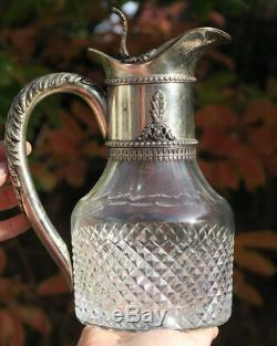 Silverplate gilt Metal crystal cut glass ewer Pitcher Vintage Italy marked old