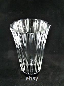 Simon Gate ORREFORS GLASS Tall Facet Cut Vase Black Base Signed'of GA 385/22