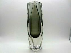 Space age geometric Murano sommerso prism facet cut art glass vase heavy