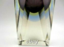 Space age geometric Murano triple sommerso prism facet cut art glass vase heavy