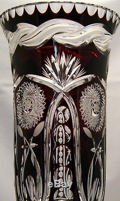 Spectacular Hand Made Burgundy Red Cut to Clear Russian Crystal Vase(17 High)
