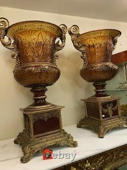 Spectacular Pair of Cut Crystal Vases with Porcelain and Gilded Bronze