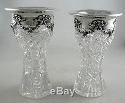 Sterling and cut Crystal Gorham vases garland themed pattern (pair)