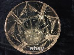 Stuart Antique Deco Cut Crystal Vase square base possibly Ludwig Kny design