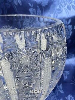 Stunning ABP 9 1/2 Tall Slender American Brilliant Cut Crystal Vase