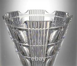 Stunning Art Deco Large & Heavy Lead Crystal Vertical Lens Cut Glass Vase 3.2 kg