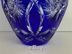 Stunning Czech Bohemian Cobalt Blue Cut to Clear Cased Crystal Vase
