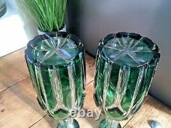 Stunning Pair Of Antique Bohemian Crystal Green Cut Glass Decnaters Moser