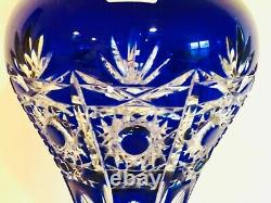 Superb Handmade In Germany Large Arnstadt Cobalt Blue Cut To Clear Crystal Vase