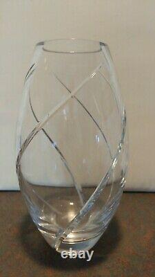 TIFFANY & CO Swirl Optic Pattern Cut Lead Crystal 12 Inch Vase
