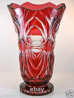 TOM Bohemia Bohemian Czech Vase, Gold Ruby Cased Cut to Clear Crystal 12H NIB