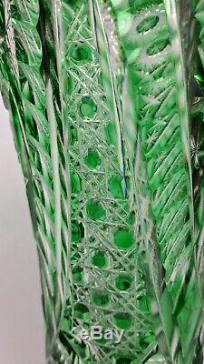 Tall Antique Bohemian Richly Cut to Clear Emerald Green Crystal Vase Czech 11