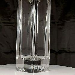 Tall Lead Cut Crystal Art Deco Style Vase Square Base 12 x 5-1/2 Inches Pontil