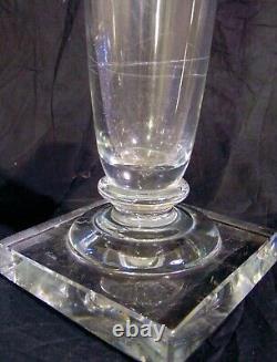 Tall Vintage Art Deco Cut Glass Crystal Trumpet Gladiola Vase Honeycomb 18
