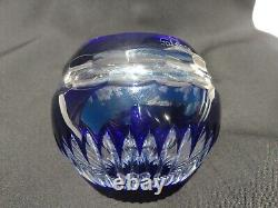 Tatiana Faberge Cobalt Blue Cut To Clear Crystal Small Vase 2 & 3/4 Signed