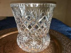 Thistle Shaped Vintage Cross Cut fan Crystal Vase huge and extra wide