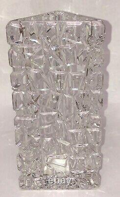 Tiffany & Co. Crystal LARGE Rock Cut Sierra Vase Triangle 7.5 Tall Flower Vase