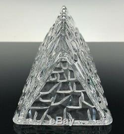 Tiffany & Co Crystal Rock Cut Triangular Vase MINT CONDITION 7.5 TALL