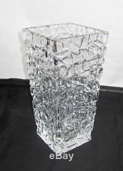Tiffany & Co. Crystal Sierra Abstract Geometric Rock Crystal Cut Vase Stunning
