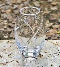 Tiffany & Co. Hand Cut Crystal Swirl Glass Vase 8.5
