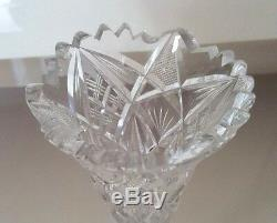 Two 8 Inch Trumpet American Brilliant Cut Crystal Bud Vases With Teethed Edges