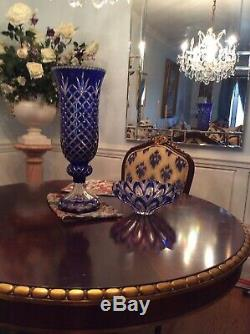 Two Vintage Cobalt Blue Hand Cut Crystal Vases Perfect Condition Must See $795