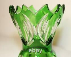 Unique vintage Bohemian Czech green cut to clear glass crystal flower vase