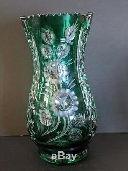 VINTAGE BOHEMIA EMERALD GREEN CUT to Clear CRYSTAL VASE CORSET 11
