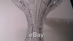 VINTAGE BOHEMIA QUEEN LACE HAND CUT 24% PbO CRYSTAL VASE 8 withsticker