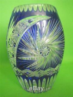 VINTAGE Bohemian Czech Cut to Clear Cobalt Crystal 11 Tall Vase