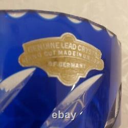 VINTAGE COBALT BLUE BOHEMIAN CUT TO CLEAR Crystal VASE GERMANY US ZONE