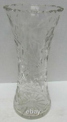 VINTAGE Large Flower Vase Hand-Cut Lead Crystal Decorative Etched Heavy Glass