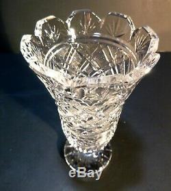 VINTAGE Waterford Crystal MASTER CUTTER Strawberry Cut Vase 7 IRELAND