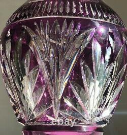 VSL Val Saint Lambert Purple Violet Crystal Vase Cut to Clear