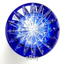 VTG Bohemian Crystal Cobalt Blue Vase Art Glass Cut To Clear Czech 8 3/4 Tall