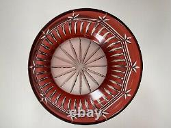 VTG Bohemian Czech Crystal Bowl Cut To Clear Red Beautiful Large Heavy /r
