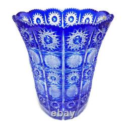 VTG Cesar Crystal Bohemiae Cobalt Blue Vase Large Cut To Clear Art Glass Czech