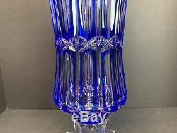 VTG Crystal Bohemiae Blue Cobalt Heavy Vase Art Glass Cut Clear Czech 16 Tall