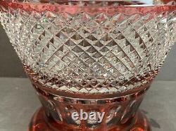 VTG Crystal Bohemiae Ruby Heavy Vase Art Glass Cut Clear Czech 10 Tall 9 Lbs