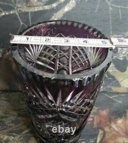 VTG Large Bohemian Czech Intricate Cut To Clear Amethyst Crystal Vase Purple