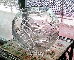 VTG Moser Rose Bowl Vase big 9 round Heavy crystal cut glass Antique