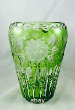 VTG US Zone Germany Beyer Green Cut to Clear Flowers Large Glass Crystal Vase