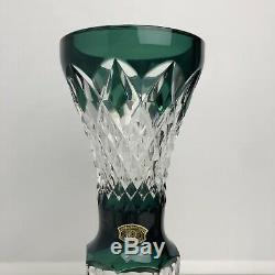 Val St Lambert 9 Emerald Dark Green Cut To Clear Crystal Glass Footed Bud Vase